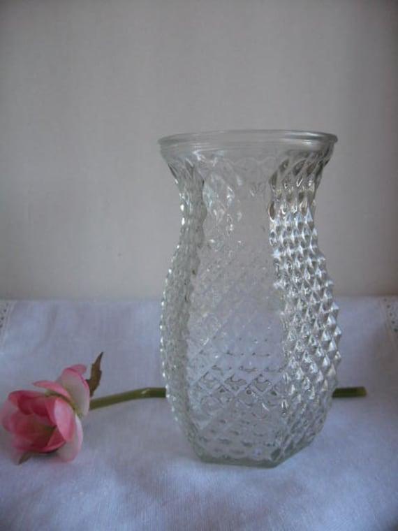 Vintage Hoosier Clear Pressed Hobnail Glass Vase By Klassic