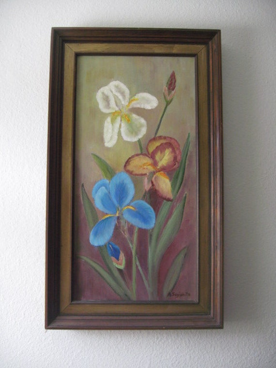 RESERVED for Debra-Original  Oil Painting - Vintage multicolor Iris original oil flower painting on canvas 16x28 inches