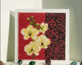 Orchid Blooms in Cream - Orchids Mothers Day Celebration Birthday Cream Flower Blooms Handmade Cross-stitch card