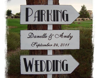 DiReCTioNaL WeDDiNg SiGnS - Art Deco HoLLyWooD Styled - CuSToM WeLCoMe ReCePTioN SiGn - Wedding Parking Signs - 4ft Stake