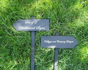 CHaLkBoaRd Sign Stake - DiReCTioNaL WeDDiNg SiGnS - Wedding Arrow SIGNS - 4ft Stake - CHARCOAL BLACK - 17 X 5 - Set of 2