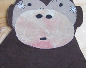 fabric applique- sitting monkey