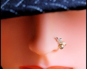Dangle Sterling Nose Stud / Funky Nose Jewerly / Boho Nose Ring / Hippy Jewelry / Silver Nose Stud / Dangle Nose Ring /- CUSTOMIZE