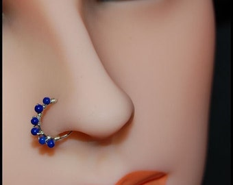 Lapis and Sterling Catchless / Seamless Nose Ring - CUSTOMIZE