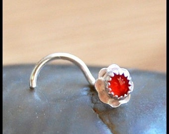 Flower Nose Stud - Punkin' - Sterling Silver and Carnelian Nose Stud - CUSTOMIZE
