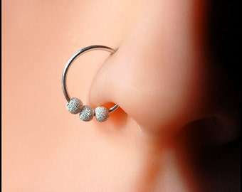 Ziggy Stardust Sterling Catchless / Seamless Nose Ring - CUSTOMIZE