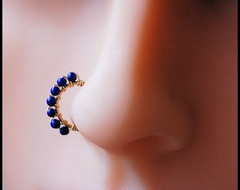 Lapis and 14 Karat Gold Fill Catchless/Seamless Nose Ring - CUSTOMIZE