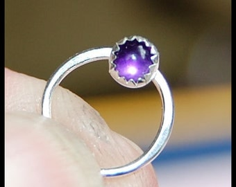 Amethyst Catchless / Seamless Nose Ring - CUSTOMIZE