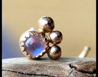 Gold Nose Stud - Solid 14 karat Gold and Rainbow Moonstone - CUSTOMIZE