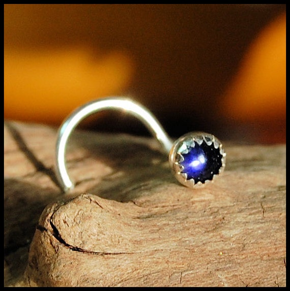 Nose Stud / Nose Screw / 3mm Iolite in Sterling Silver Serrated Bezel - CUSTOMIZE