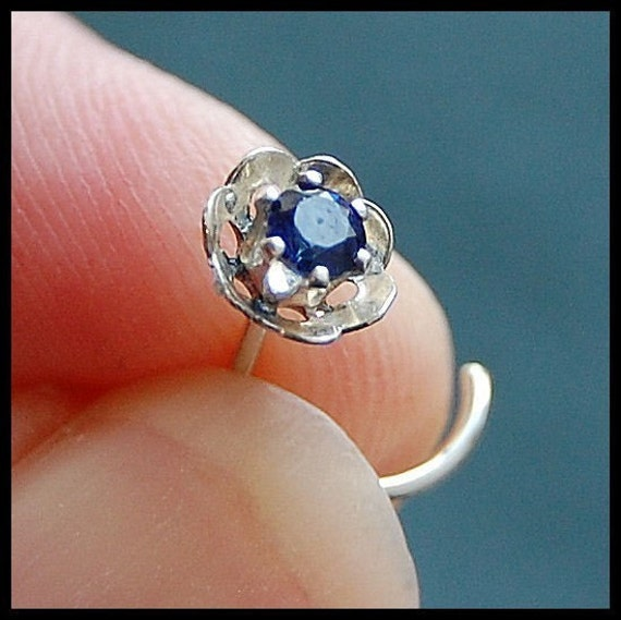 Sapphire Flower Nose Stud - Customize