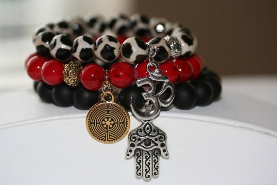 Black Matte Onyx Gemstone, Tibetan Agate Gemstone and Dark Red Natural Stone Bead Bracelets - Set of 3