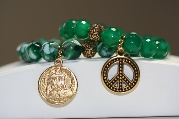 Mosaic Green Shell Bead and Faceted Jade Gemstone Bracelet - Set of 2