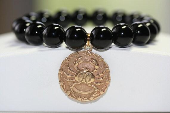 Black Onyx Smooth Gemstone -OR- Black Onyx Matte Gemstone Zodiac Bracelet