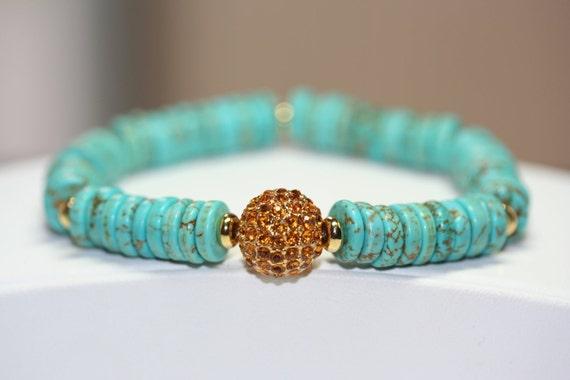 Howlite Turquoise Rondelle Disc Gemstone Bracelet