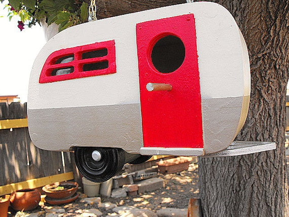Brown, Red, Beige Casita Birdhouse Ready to Hang