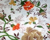 Fabric from Reclaimed Vintage Linens - Flower Orange Brown Green - Floral Pretty - Polka dot Leaves - Fat Quarter