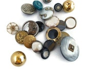 Vintage Buttons - Metal Plastic and Shank Back - Lot Assortment (25)
