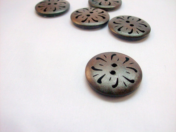 Buttons Wood Brown Large  with Intricate Design - Set of Five (5)