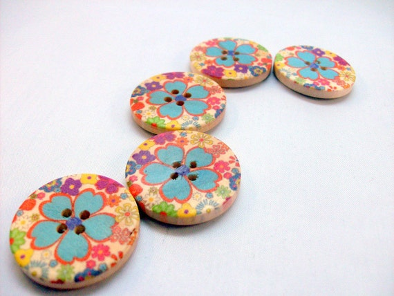 Large Sewing Buttons with Blue Hibiscus Flower and Floral Design - Set of Five (5)