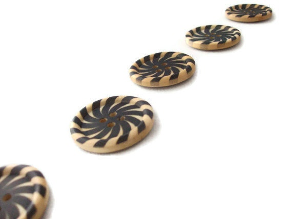 Black Spiral Buttons Wood - Set of Five (5)