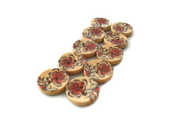 Rose Wood Buttons - Set of Ten(10) - Spring Flowers Blooming