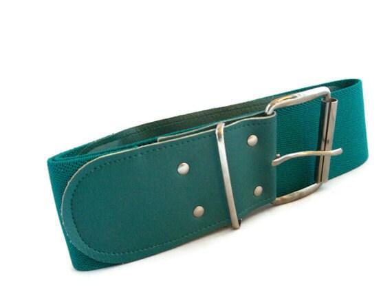 Vintage Belt - 80s Fashion - Turquoise Accessory, Wide Belt - small, medium