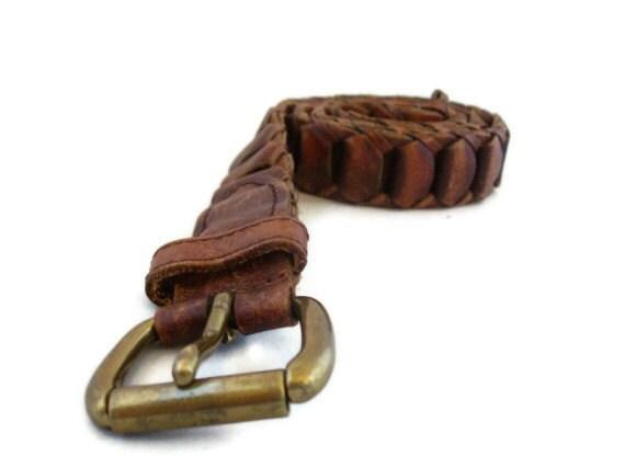 Distressed Leather Vintage Belt, Brown Belt
