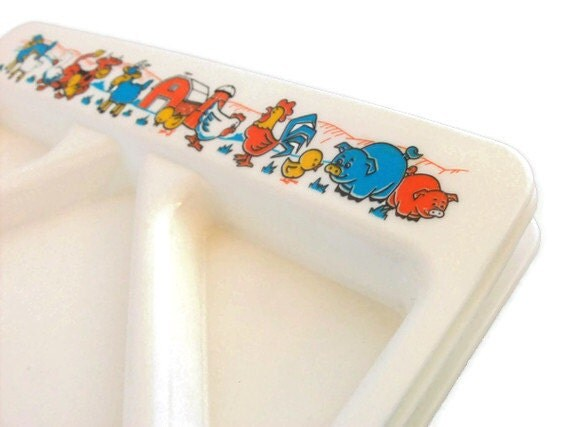 Vintage Trays featuring Barnyard Animals Divided Plate