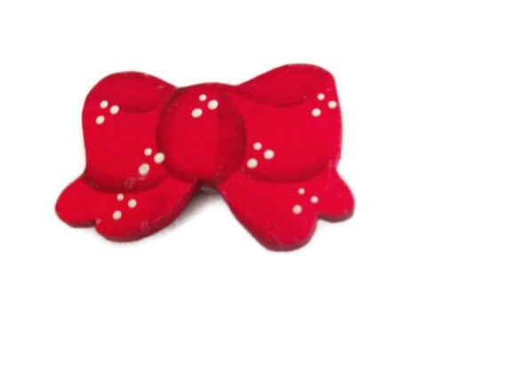 Red Bow Button Cover - Vintage