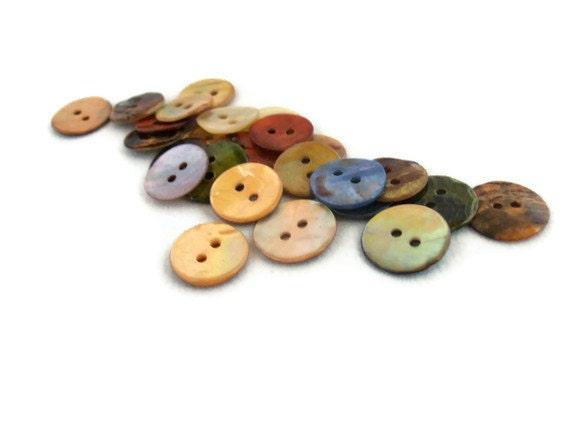 25 Shell Buttons - Random Assortment Button Lot - Color Variety
