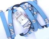 turquoise leather wrap watch bracelet