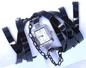 black patent leather wrap watch bracelet