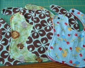 Variety Package of FIVE newborn Sized Baby Boy Bibs