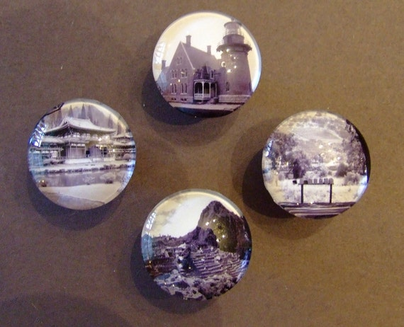 RESERVED FOR  Dadimari - 6 Custom Made Glass Domed Photo Cabinet Knobs with Satin Nickel Bases