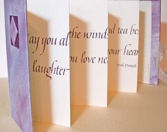 Lavender Irish Proverb Calligraphy Book