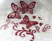 Wedding butterfly set Burgundy scrapbook embellishments
