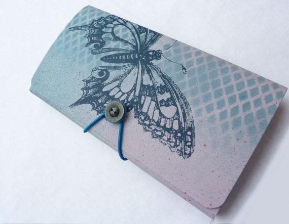Hand Painted Card/Bill Organizer/13 Pocket Folder- Harlequin Butterfly