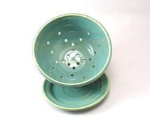 Berry Bowl-Pottery Colander-Ceramic Strainer-Fruit Strainer-Stoneware Bowl-Pearl Green Glaze-Berry Strainer-Teal