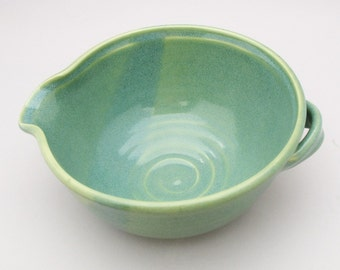 Pottery Batter Bowl-Stoneware-Serving Dish-Comfortable Handle-Pearl Green Glaze-Ready to Ship
