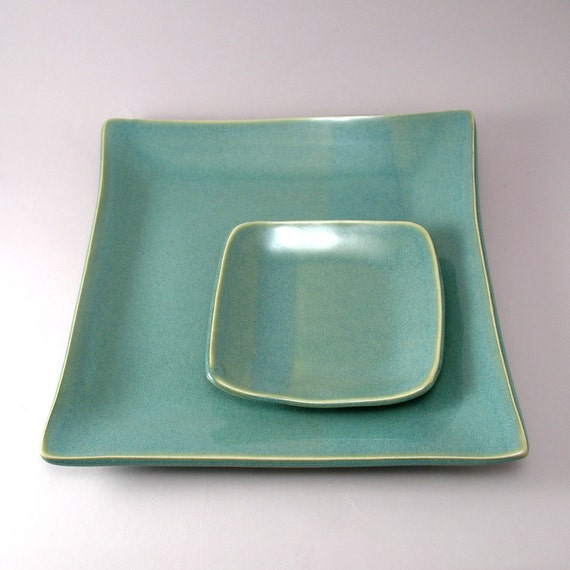 Serving Tray-Tapas Tray-Appetizer Set-Set of 2-Pearl Green Glaze-Potttery Plate-Ceramic Platter-Tableware-Teal-Ready to Ship