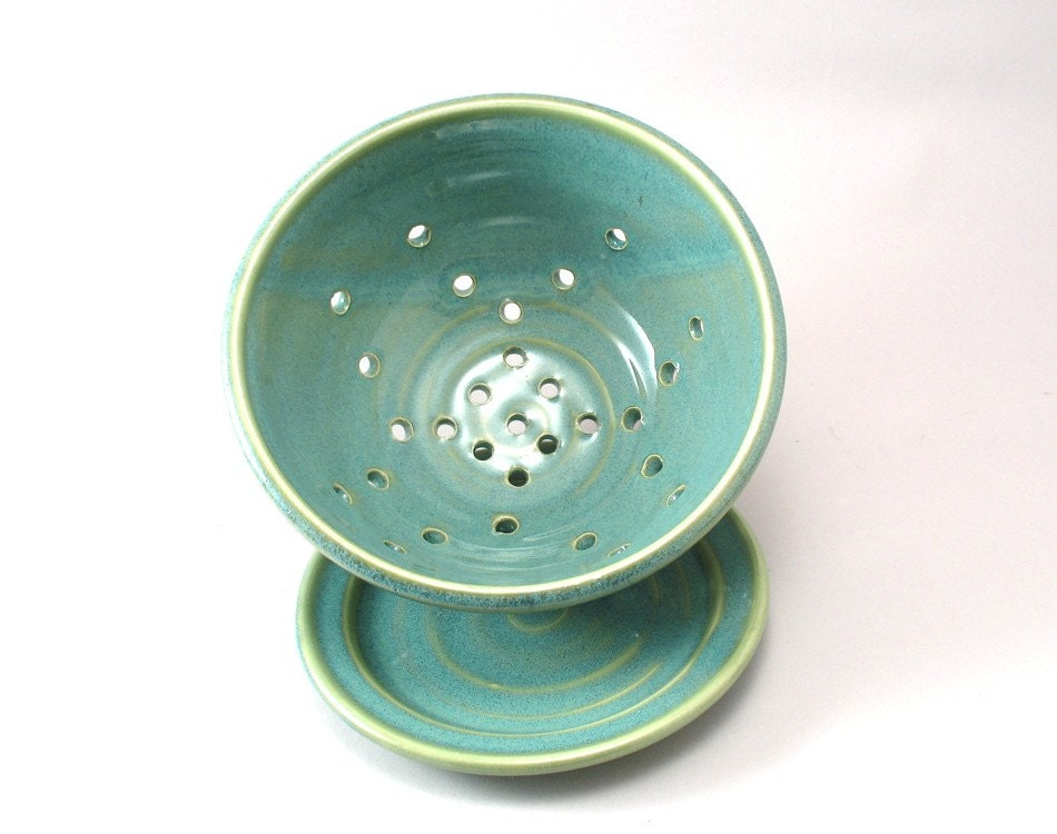 Berry Bowl Pottery Colander Ceramic Strainer Fruit