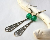Dew Drops Earrings - Antiqued brass and Czech glass