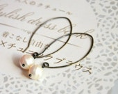Silver Pearl Earrings - Oxidized Sterling Silver