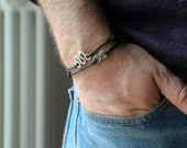 Two Bracelets for Him - Aluminium wire and black waxed cotton - Men and Unisex - Vegan friendly