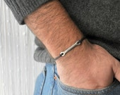 For Him Bracelet  - Aluminium wire and waxed cotton - Men and Unisex bracelet