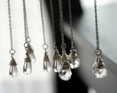 Rain Drops Lariat Necklace- Czech Glass and silver toned chain.