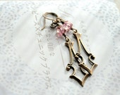 Pink Earrings Antiqued Brass and Czech Glass