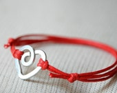 Heart Red Bracelet, Aluminium wire and waxed cotton, vegan friendly jewelry