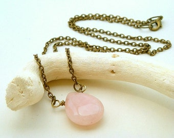 SALE - Rustic Chic - Antiqued Brass and Pink Quartz